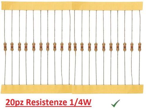 20pz Resistenza 10 Ohm 1//4W 0,25W a strato di carbone 5/%