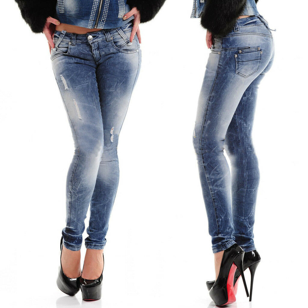 By ALINA Jeans Donna Jeans Pantaloni Donna Pantaloni sexy jeans a sigaretta hüftjeans XS-M  a42