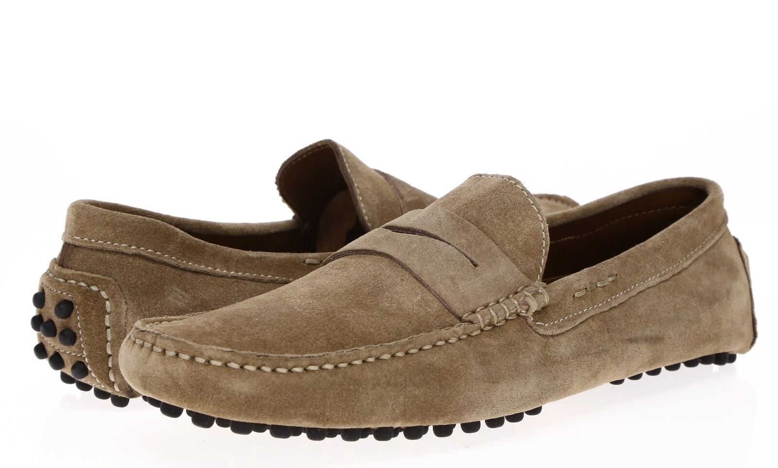 G BROWN Mens Taupe Suede Moccasins Sz 9.5 M