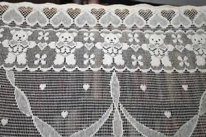 "Vintage Countess cotton lace window valance shabby chic cottage brise-bise 24/"" w"