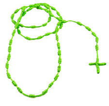 """MM Men's Cross Rosary Rope Cord Necklace 28"""" Neon Lime Green,Orange,Pink & Multi"""