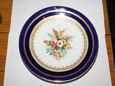 COBALT BLUE GILDED CABINET PLATE HANDPAINTED FLORAL POSY 1824 AYNSLEY? COALPORT?