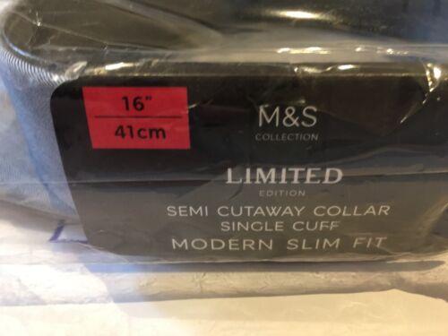 """Da Uomo 16/"""" Navy M/&s Semi Cutaway colletto moderna Slim Fit RRP £ 25 Bracciale singolo"""
