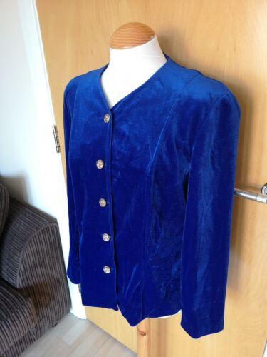 12 Gold Party Velvet Blue Vtg Jacket Evening Tone Smart Size Ladies 14 Button vOzxtHqvn