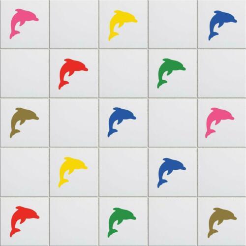 Dolphin Vinyl Tile Stickers Nautical Wall Decal Transfers Bathroom Home Decor