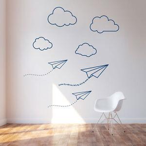 Papier Flugzeuge Wolken Vinyl Zimmer Wand Sticker