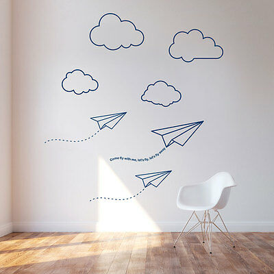 Paper Planes & Clouds vinyl room wall sticker mural decoration boy nursery kids