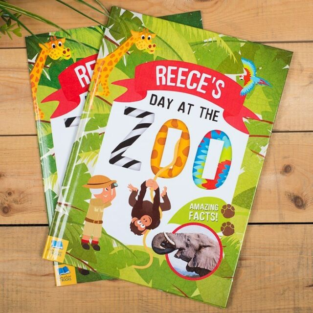 Personalised Photo Children's Book Day At The Zoo Educational Fun Story Book