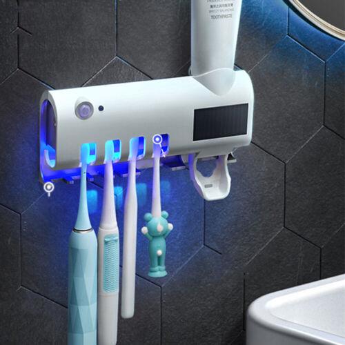 Toothbrush Holder LED UV Light Sterilizer Cleaner Toothpaste Dispenser Organizer