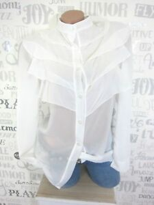 Senora-Italy-chifon-blusa-camisa-tunica-camisa-volant-talla-36-38-40-blanco-e27