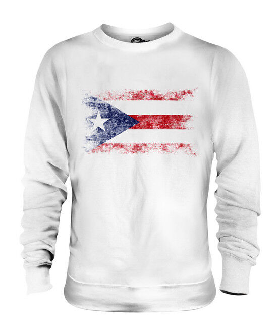 PUERTO RICO DISTRESSED FLAG UNISEX SWEATER TOP PUERTO RICAN SHIRT FOOTBALL GIFT