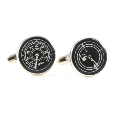 Details about  /New Rhodium Plated Round MPH and Petrol Meter Cuff Link 0483