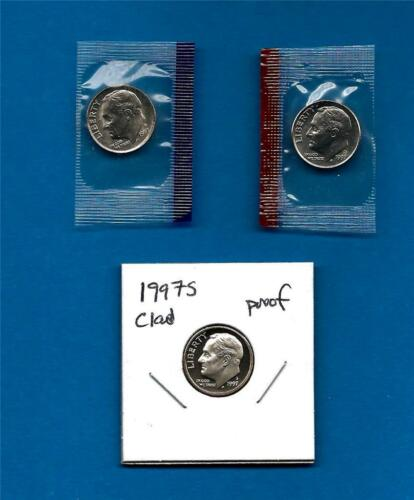 PD in Mint Set Cellos 1997 P D and S  BU and Clad Proof Roosevelt Dime Set