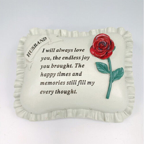 Graveside Memorial Ornament IN MEMORY OF HUSBAND Pillow with Rose