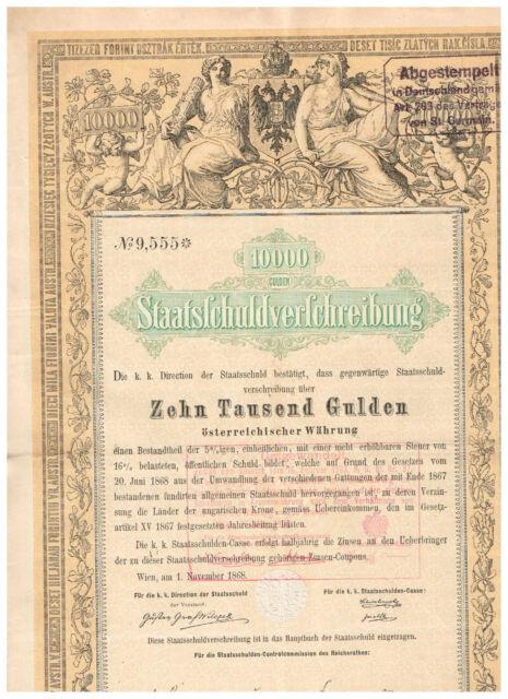 Staatsschuldverschreibung Österreich, Wien 1868, 10.000 Gulden