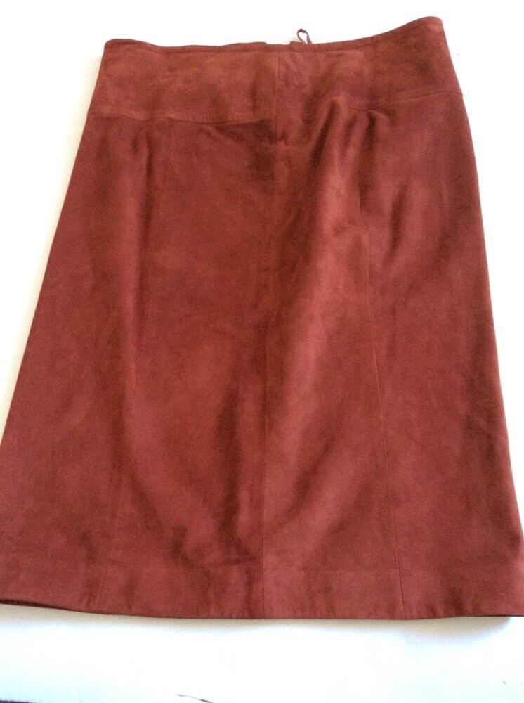 Valentino Suede Pencil Straight Knee Length Skirt Lined Rust Copper braun Größe 8