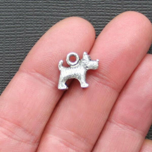 SC1863 8 Dog Charms Antique Silver Tone 2 Sided and 3D
