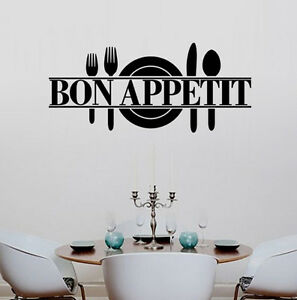 Removable kitchen dining room decor bon appetit decals for Dining room vinyl wall art