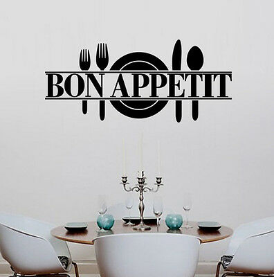 Removable Kitchen Dining Room Decor Bon Appetit Decals Vinyl Wall Sticker