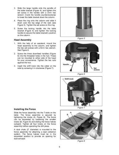 Powermatic Model 1150A Drill Press Operating Instruction /& Parts Manual *292