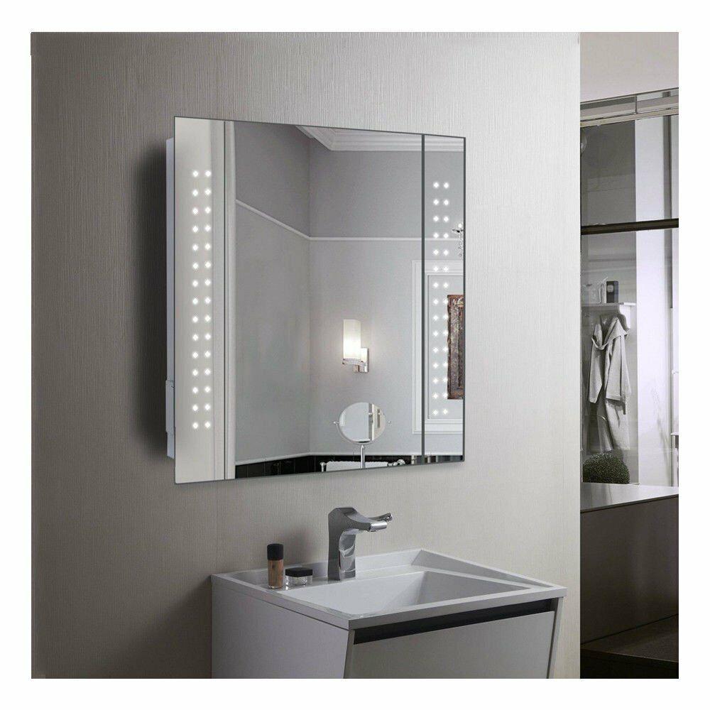 Cube Led Demister Bathroom Cabinet With Sensor Shaver Socket 367 For Sale Ebay