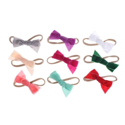 3Pcs//Lot Colorful Headbands Girls Elastic Velvet Bow Headwear Hair Accessories