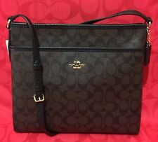 NEW COACH  SIGNATURE FILE BAG CROSSBODY BROWN/BLACK F58297 $225