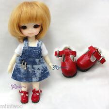 Mimi Collection Hujoo Baby Obitsu 11cm Body Bjd School Maryjane Doll Shoes Red