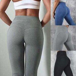 Women High Waist Yoga Pants Ruched Butt Lift Stretch Leggings Workout Trouser Y1