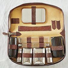 Vintage Herren-Necessaire Kulturtasche Leder in braun mit Inhalt 50/60er Jahre