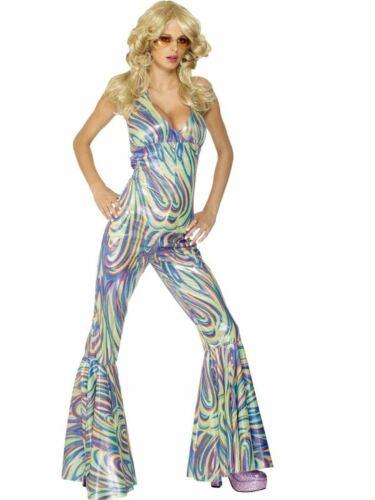 1970s Ladies Disco Dancing Queen Fancy Dress Costume  Deva Catsuit