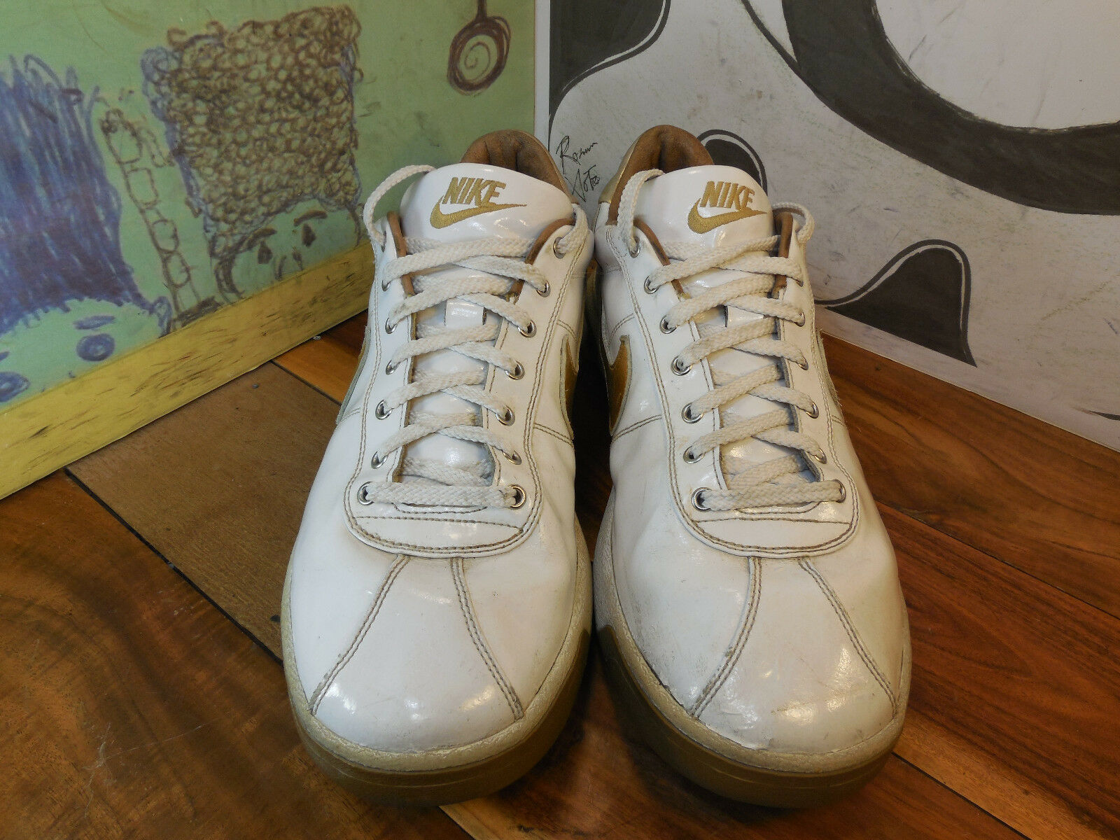 check out 90d78 5c82d ... Nike White Leather Leather Leather Gold Swoosh Sneakers Mens 16  316166-991 Individually Designed 78e216 ...