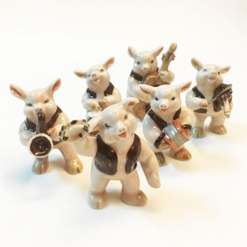 Six Piggy Band Musical Ceramic Violin Drum Figurines Animal Decoration Home Show
