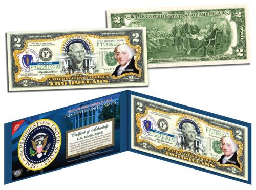 Colorized $2 Bill US Genuine Legal Tender President 2nd U.S JOHN ADAMS