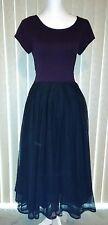 Nwot Eshakti Purple Plum Knit Fit & Flare Black Tulle Skirt Midi Dress  M 8