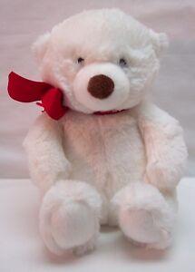 Hallmark-CUTE-SOFT-WHITE-TEDDY-POLAR-BEAR-W-RED-BOW-8-034-Plush-STUFFED-ANIMAL-Toy