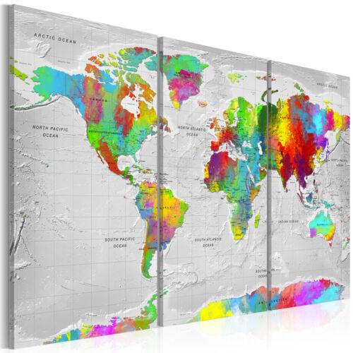 WELTKARTE MAP LANDKARTE BUNT Wandbilder xxl Bilder Vlies Leinwand k-A-0128-b-e