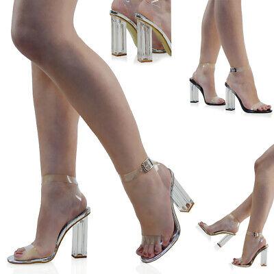 Womens High Heel Ankle Strap Sandals Perspex Ladies Clear Block Heel Party Shoes | eBay
