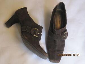 Liz-Claiborne-Maribel-Flex-Zone-6-5M-Brown-Suede-Leather-Wooden-Heeled-Pump-Shoe