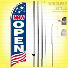 Now Open Windless Swooper Flag Kit 15 Feather Banner Sign Usa Bb H