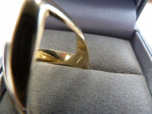 Q P 9ct Solid Gold Double Wishbone Ring Size O -  3.7  grams