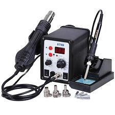 2in1 878d Rework Soldering Station Hot Air Gun Iron Welder Digital Tool 5 Tips