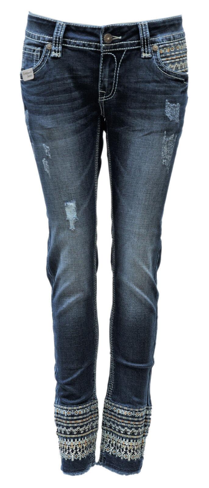 Blau Monkey Jeans Damen Luna Cropped Cropped Cropped BM-3988 Luxery b3b019