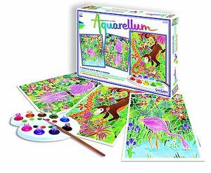Details Zu Sentosphere Aquarell Junior Wilde Tiere Malset 3 Ausmalbilder Komplettset