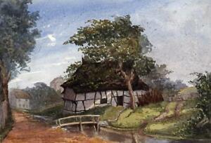 COTTAGE-IN-LANDSCAPE-NEWINGTON-Victorian-Watercolour-Painting-c1880