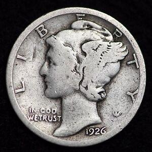 1926-P-MERCURY-DIME-CIRCULATED-GRADE-GOOD-VERY-GOOD-90-SILVER-COIN