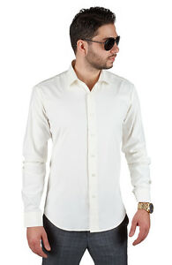 Tailored slim fit mens ivory dress shirt wrinkle free for Mens ivory dress shirt wedding