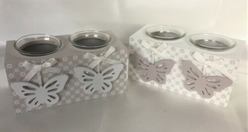 Dainty Daisy Butterfly Double Tealight Candle Holder White /& Grey