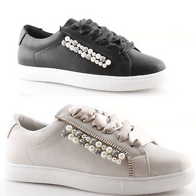 reputable site aefde d67b6 Women Sneakers Low Laces Black Satin Beige with Pearls Studs Shoes Gold &  Gold | eBay