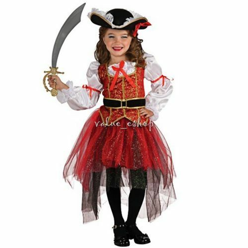 Girls Pirate Fairy Halloween Costume Outfits Party Fancy Dress Up Clothes Kids